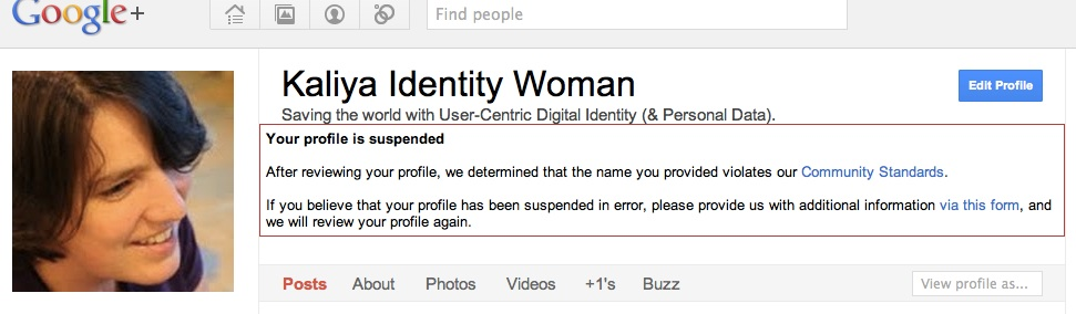 Kaliya Identity Woman: Your Profile Has Been Suspended.